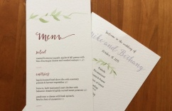 Wedding menu and program